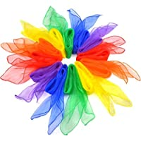 12個ダンススカーフ、幼稚園パフォーマンスダンススカーフジャグリングダンススカーフスクエアマルチカラーリズムバンドスカーフ 6色混ぜ (60cm x 60cm)