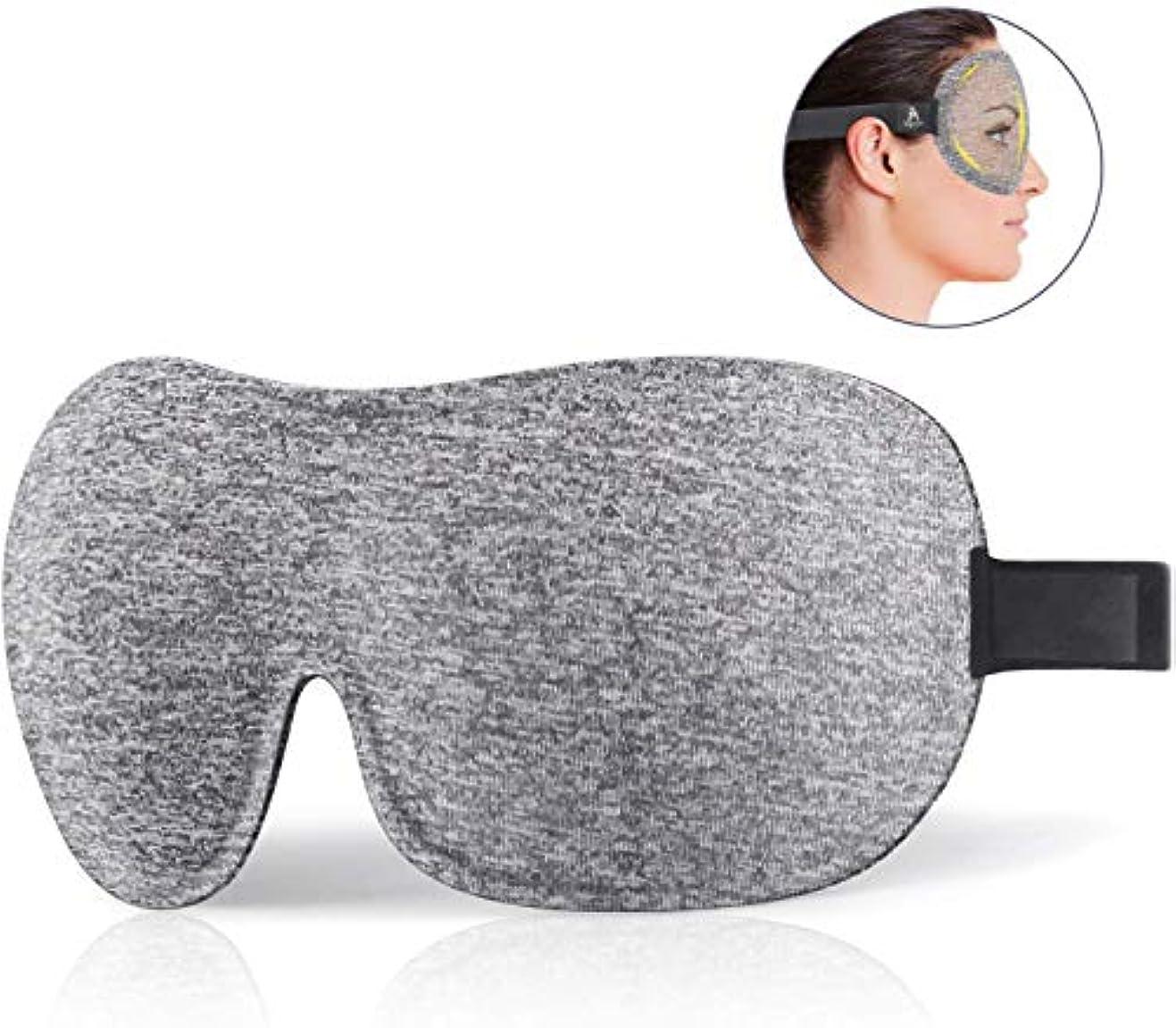 免疫調整放射性Mavogel アイマスク 3D立体型 たんぱく質系繊維とコットン素材 ひんやり 快眠 遮光 柔らかい 圧迫感なし 自由調整 スポンジ付きバンド(グレー)
