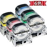 ASprint 6色の1セット 18mm キングジム用 SS18K ST18K SC18R SC18Y SC18G SC18B KINGJIM 互換 テープ- カートリッジ テプラPRO テープ 長さ8M 強粘着 ラベルライター用