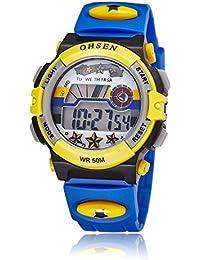 OHSEN 腕時計 子供 LED デジタル スポーツ アラーム 日付曜日 キッズ 多機能ウォッチ-ダークブルー