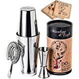 Cocktail Shaker Boston Shaker Set: Professional Weighted Martini Shakers with Cocktail Strainer and Japanese Jigger   Portable Bar Shaker Set for Drink Mixer Bartending   Exclusive Recipes Bonus