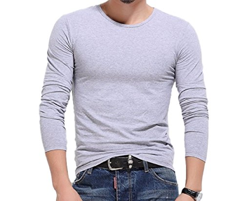 [해외]武龍? 남성 롱 T 셔츠 U 목을 무지 긴팔 맞는 가감 발군/Buddha men`s long T-shirt U neck solid color long sleeve fit excellent