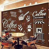LJJLM 壁画カスタムヨーロッパレトロビンテージコーヒー背景の壁の壁紙-350X230CM