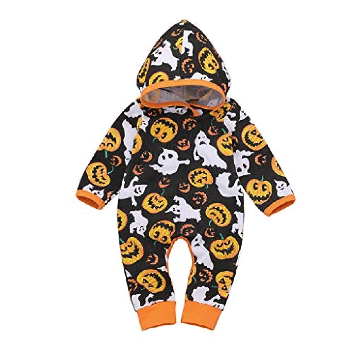 アボートゲートボタンMISFIY ハロウィン キッズ ベビー服 子供 男の子 女の子 ロンパース 長袖 フード付き かわいい 仮装衣装 寝間着 ホーム 部屋着 (90)