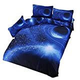 Etelux 寝具カバー3点セット シングル掛けカバー セット 宇宙スペース コスモ 3Dプリント 高品質 宇宙に包まれて眠る ベッド用品 枕カバー+ 掛け布団カバー +シーツカバー (XK005)