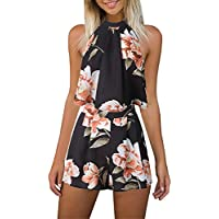 Women's Floral Printed Summer Dress Romper Boho Playsuit Jumpsuits Beach 2 Piece Outfits Top with ShortsBlackSmall
