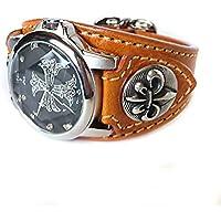 腕時計 メンズ カジュアル ビジネス レザーブレスウォッチ 本革 レザー ベルト牛革 ジルコニアクロス 百合コンチョ LBW030