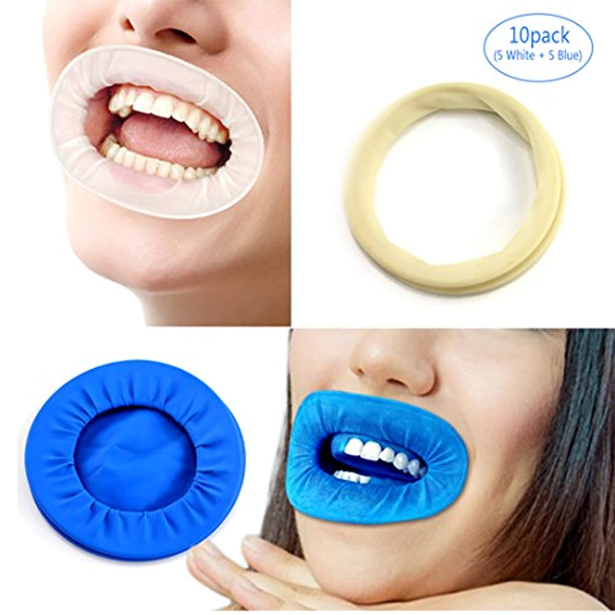 電球タブレットわずかなEZGO 10個歯科用ディスポーザブル非ラテックスラバーティックリトラクタ、ラバーダム&マウスギャグオープナーは歯を分離し、液体、感染症および過酷な化学物質から口を保護します(10パック) (5white+5blue)