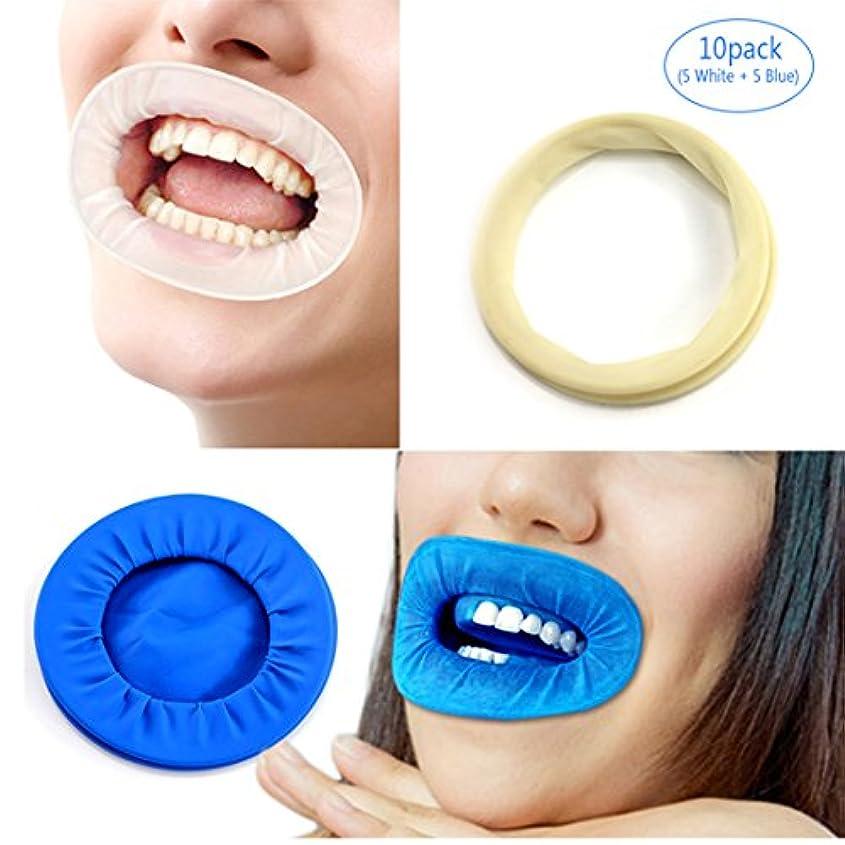 パケット動的良性EZGO 10個歯科用ディスポーザブル非ラテックスラバーティックリトラクタ、ラバーダム&マウスギャグオープナーは歯を分離し、液体、感染症および過酷な化学物質から口を保護します(10パック) (5white+5blue)