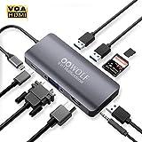 OOWOLF 9-IN-1 USB-Cハブ ドッキングステーション ウルトラスリム 9ポートハブ USB3.0高速ハブ / バスパワー/軽量/コンパクト 【3つのUSB 3.0ポート / 100W出力 Power Delivery 対応USB-Cポート / 4K対応HDMI出力ポート / 3.5mmオーディオジャック / VGA変換/microSD&SDカードスロット搭載】スペースグレー