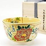抹茶碗 色絵茶碗 「地紙四季草花」 木箱入り 通年物 茶道具