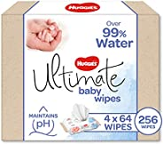 Huggies Ultimate Over 99% Water Baby Wipes, 256 Wipes (4 x 64 Pack)