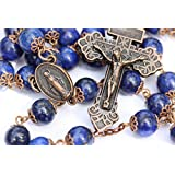 Large Genuine Lapis and Copper 10mm 5 Decade Natural Stone Bead Rosary Made in Oklahoma
