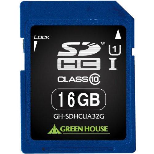 SDHCメモリーカード UHSーI クラス10 16GB GH-SDHCUA16G 1枚