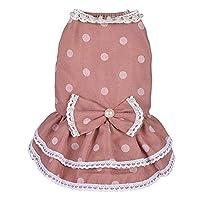 ペット服 かわいい一般的なペットグレー春と夏のダークパウダー水玉模様のスカート犬の服ペット服の供給 犬の服 (色 : Dark powder, サイズ : M)