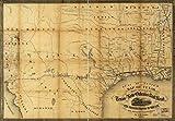 マップ: 1860のテキサスのラインを示す、テキサス、新しいOrleans Rail Road、とその接続の米国および隣接Territories。Shows Railroads実際に構築、部分仕上げ、under Contrac