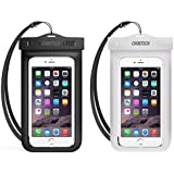 Waterproof Case, CHOETECH [2-Pack] Clear Transparent Pouch Can Touch Screen Dustproof Dry Bag With Neck Strap for iPhone X 8 8 Plus 7 7 Plus 6S 6S Plus 5 5S SE Galaxy S8 S7 S7 S6 Huawei Goggle Pixel XL Up to 6 Inches