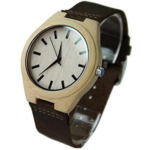 フーポット 竹木製腕時計 レザーベルト ウッドウォッチ 人気 ファション腕時計 贈り物 人気誕生日プレゼント (ブラウン)