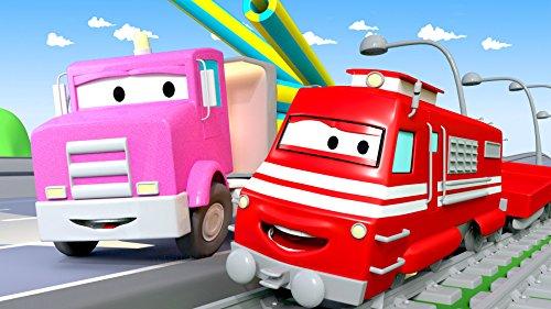 カーシティーにいる、列車のトロイとフラットベッドトラックのフラビー&ゴミ収集車が火事|子供向け自動車&トラックアニメ