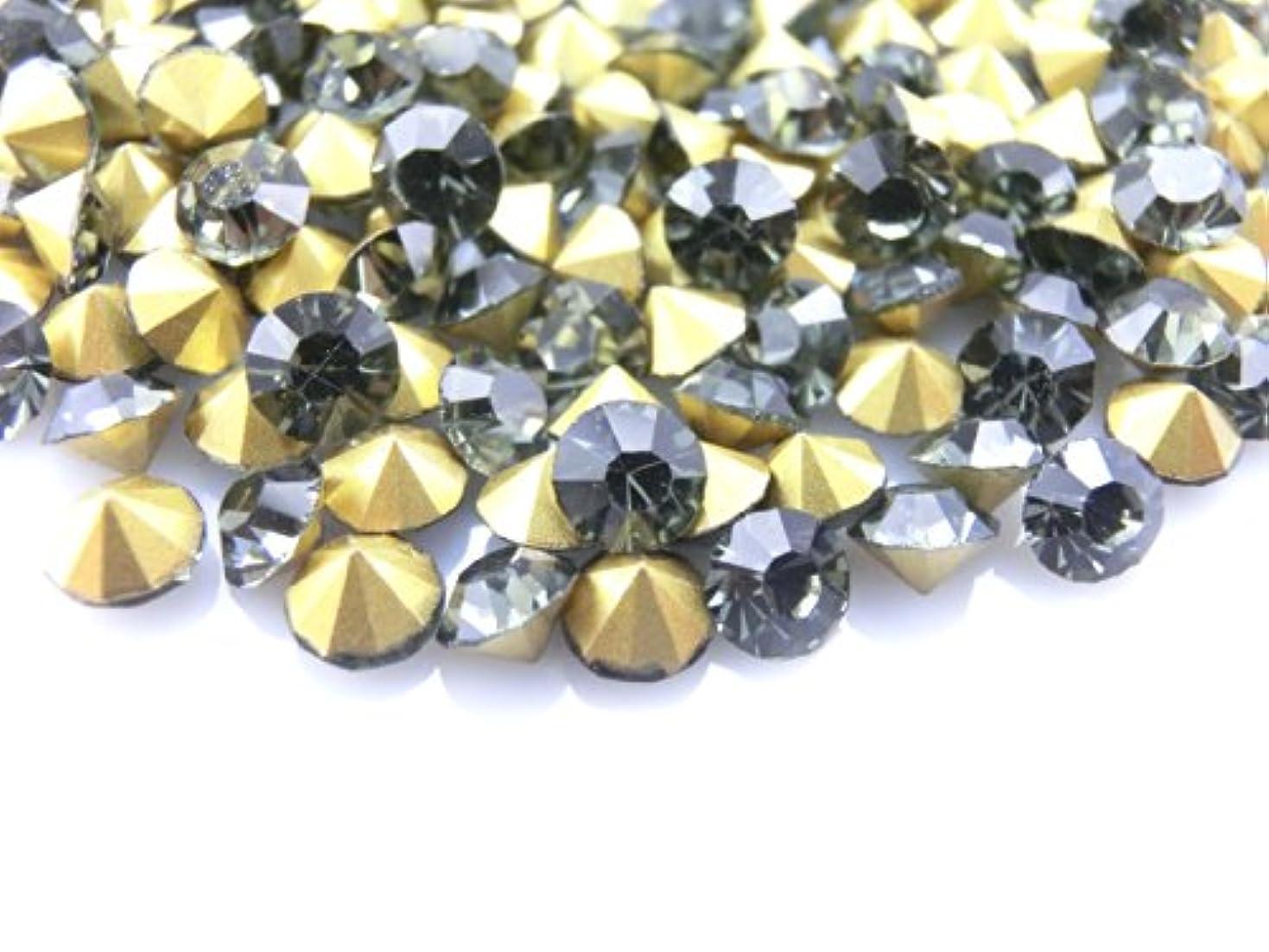 毎回オープナーバインド【ラインストーン77】超高級 ガラス製 Vカットストーン ブラックダイヤモンド 各サイズ.選択可 (3.0mm (SS12) 約50粒)