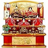 雛人形 五人揃三段飾り 【祇園】セット 27号(5人)[幅81cm] ワイン?金塗[sb-1-12] 雛祭り