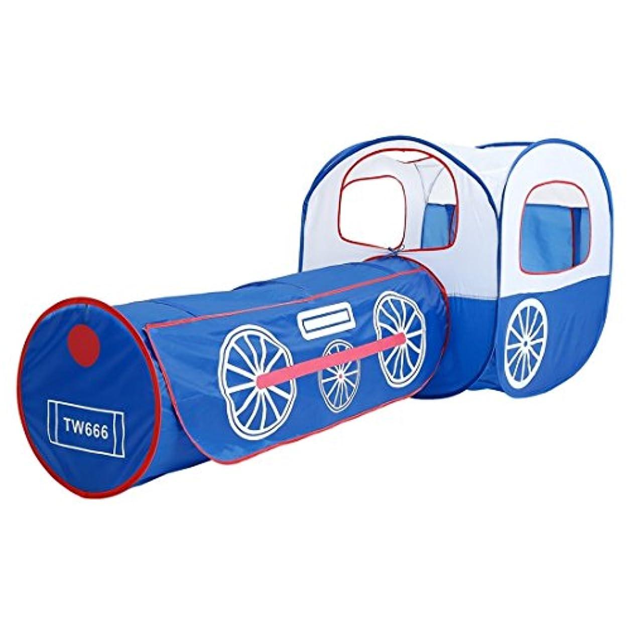 テスピアンめまいが気体の方朝日スポーツ用品店 子供用テント ブルー機関車 トンネル 劇場脱着式 ユルルト (色 : 青)