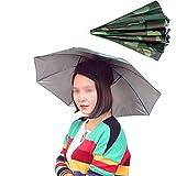 [スゴフィ]SGFY 折りたたみ傘帽子 かぶる傘 釣り帽子 屋外作業 つり用傘 すげ笠 釣り帽子 釣り傘 屋外 防風 UVカット三つ折り (03)