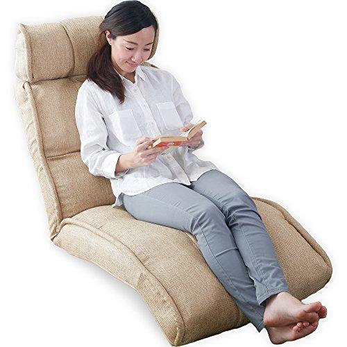 LOWYA (ロウヤ) 座椅子 ソファ 42段ギア 3Dヘッド リクライニング ポケットコイル ファブリック ベージュ おしゃれ 新生活