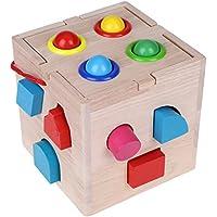 gloglow木製並べ替えゲームShape Sorterおもちゃセット非毒性木製キューブ幾何ブロックベビー幼児Preschool教育玩具形状ソーター認知と一致するWooden Toys With木製ハンマー