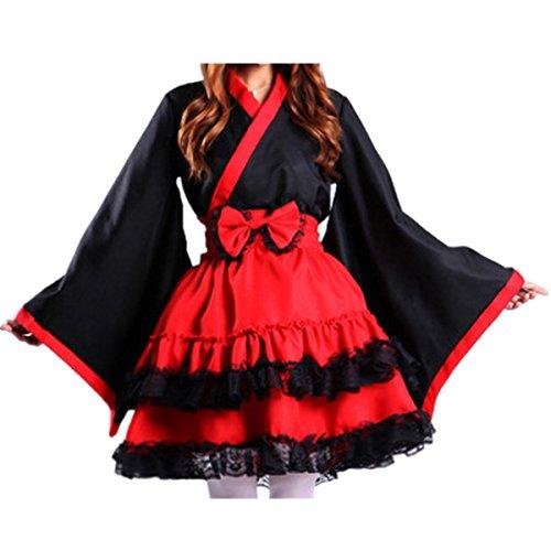 Infabe メイド イン 和風 完璧メイドセット 和風 メイド服 セット フリー 和風・エプロン・赤リボン