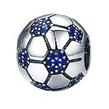 WOSTU シルバー925チャーム サッカーボールペンダント Sterling Silver Charm Football for Bracelet/Necklace ブルージルコニア 彼氏アクセサリー用パーツ レディース/メンズ