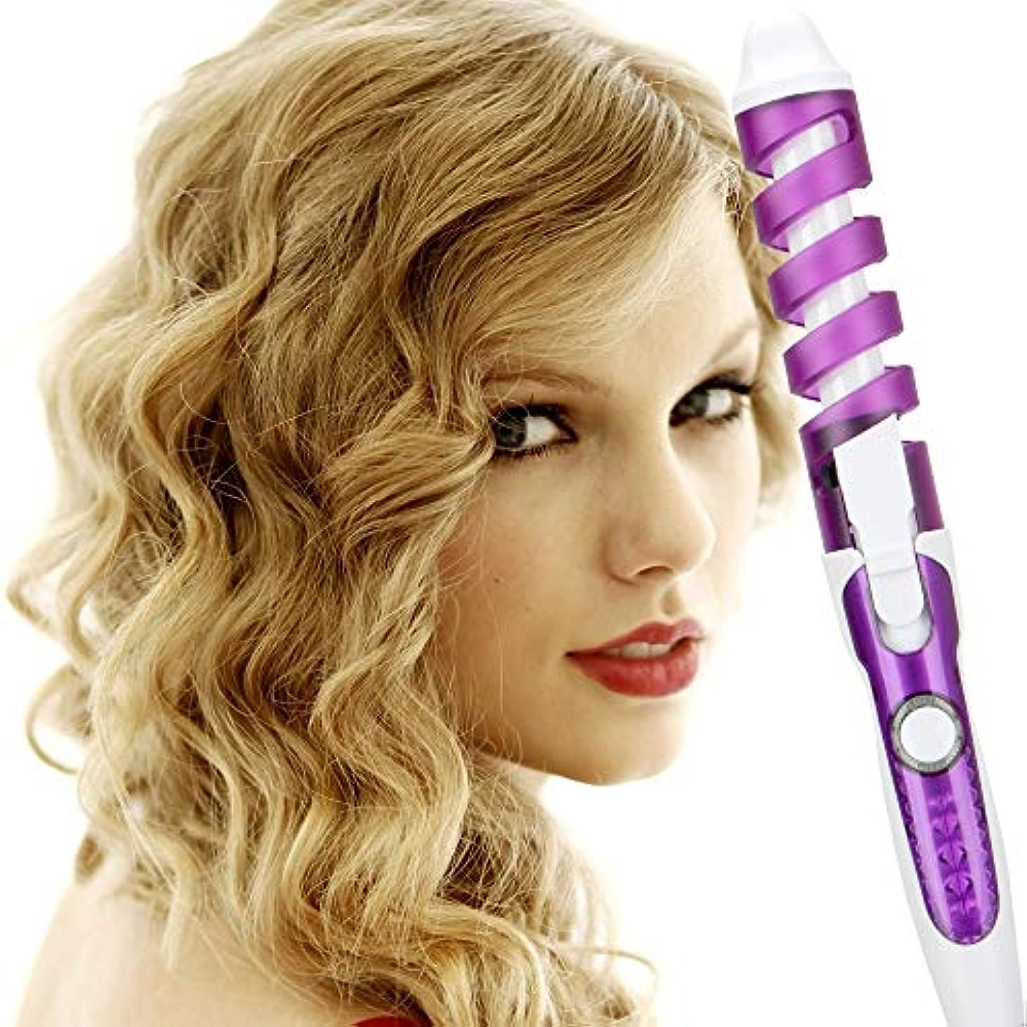 分学部長利益プロヘアカーラーローラースパイラルカーリングアイロンサロンカーリングワンド高速加熱電気プロヘアスタイラー美容スタイリングツール,紫色