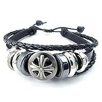 [テメゴ ジュエリー]TEMEGO Jewelry レディース編みこみレザーブレスレット、ヴィンテージゴシッククロスチャームカフバングルは、7-9インチ、カラーブラックシルバーに適合 [インポート]