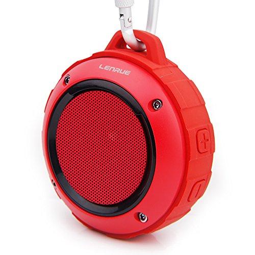 bluetooth スピーカー Lenrue F4 ミニワイヤレススピーカー IP45 防水防塵認証 マイク内蔵 高音質 アウトドアスピーカー TF カード対応 / iPhone / iPad /Android /タブレットなどに対応 (赤)