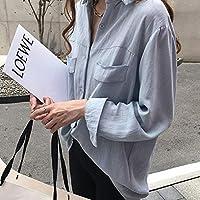 ACHICOO シャツ トップ ソリッドカラー 無地 通気性 薄い シック 長袖 ルーズ ブラウス カジュアル スタイル Tシャツ 女性 レディース ファッション アウトドア 青 L