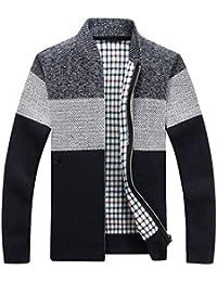 Inlefen 男性 秋と冬 コート 厚い カーディガン スリムフィット ストライプ ジッパー コート セーター