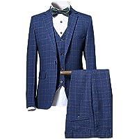 CEEN イギリス風メンズスーツ チェック柄スーツ スタイリッシュ 一つボタン スリピーススーツ 洗練 スリム 3ピース オシャレ フォーマル 就職 リクルート 紳士服