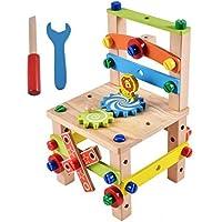 大工さんセット イス 木製おもちゃ 積み木 組み立て 知育玩具 (木)