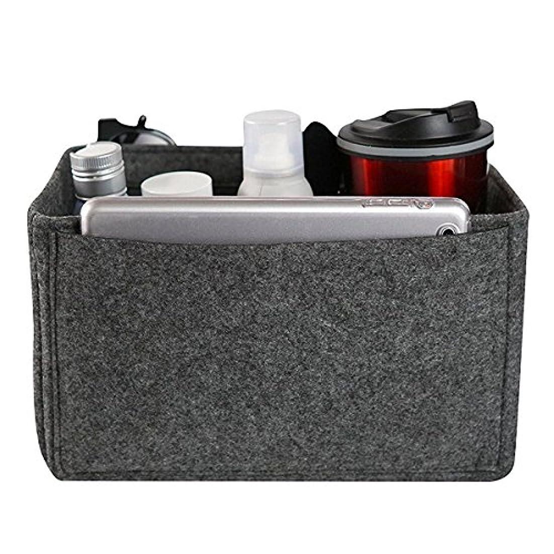 クリップ上下する貧困YZUEYT フェルトインサートバッグマルチポケット化粧品ハンドバッグ財布オーガナイザーホルダーメイクアップトラベルジッパー YZUEYT (Color : Color dark gray, Size : XL)