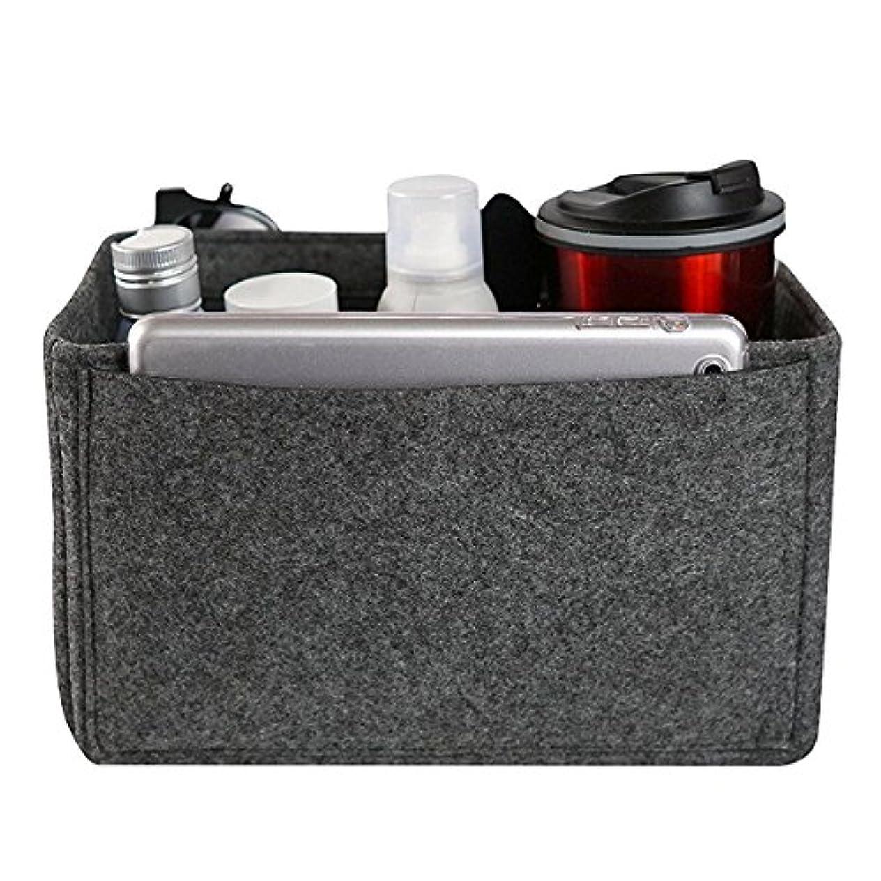 シェーバースズメバチ報復するYZUEYT フェルトインサートバッグマルチポケット化粧品ハンドバッグ財布オーガナイザーホルダーメイクアップトラベルジッパー YZUEYT (Color : Color dark gray, Size : XL)