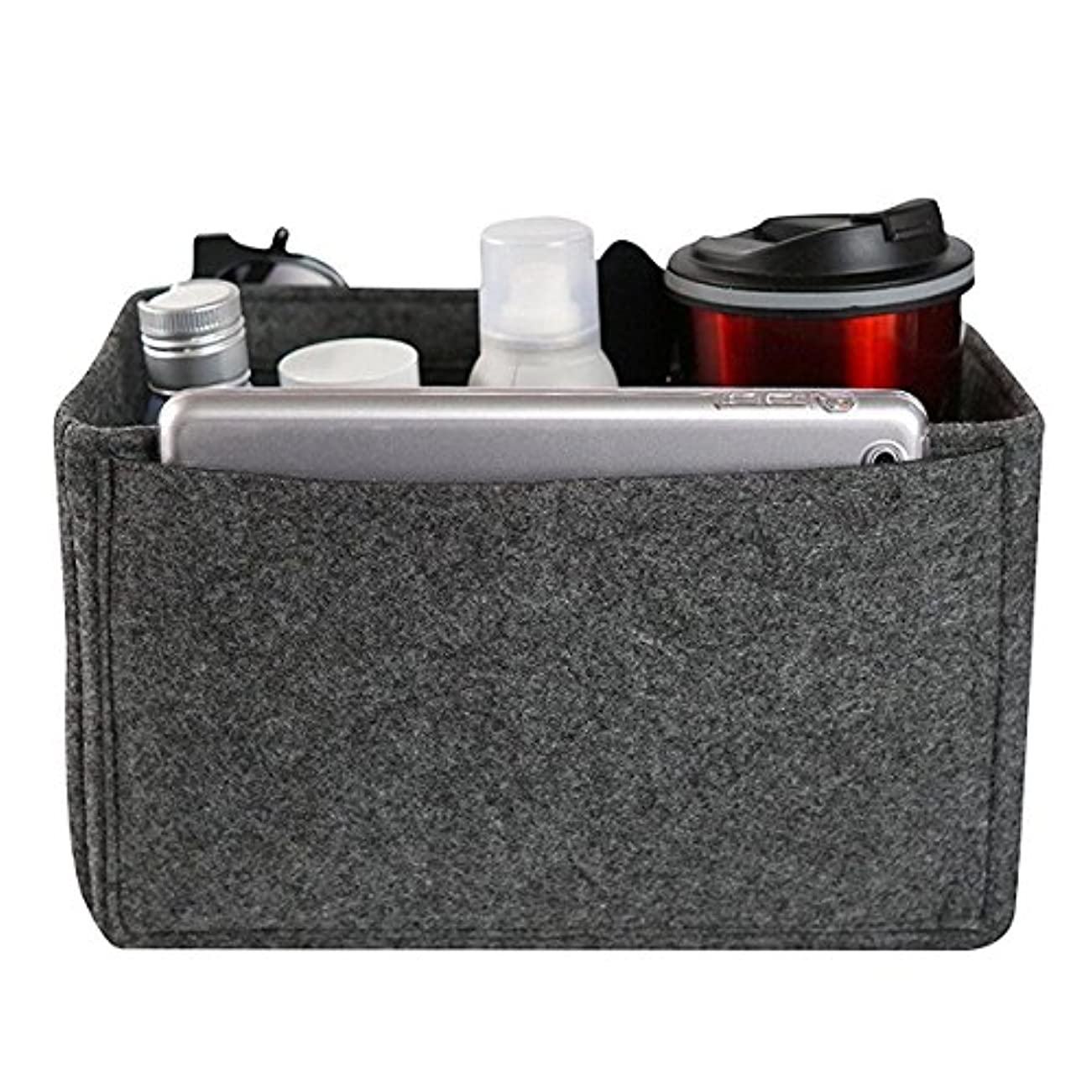 ゴミ箱を空にする捕虜見習いYZUEYT フェルトインサートバッグマルチポケット化粧品ハンドバッグ財布オーガナイザーホルダーメイクアップトラベルジッパー YZUEYT (Color : Color dark gray, Size : XL)