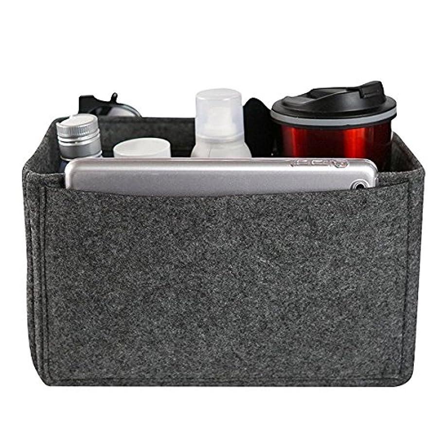 継承事故髄YZUEYT フェルトインサートバッグマルチポケット化粧品ハンドバッグ財布オーガナイザーホルダーメイクアップトラベルジッパー YZUEYT (Color : Color dark gray, Size : XL)