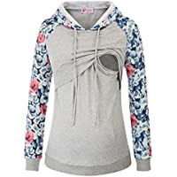 Maternity Nursing Top Sweatshirt Long Sleeve Patchwork Pullover Tops