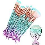 {11PCS} Mermaid Make Up Foundation Eyebrow Eyeliner Blush Cosmetic Concealer Brushes
