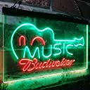 Budweiser Music Guitar Beer Bar Decor LED看板 ネオンサイン バーライト 電飾 ビールバー 広告用標識 グリーン レッド 30cm x 20cm