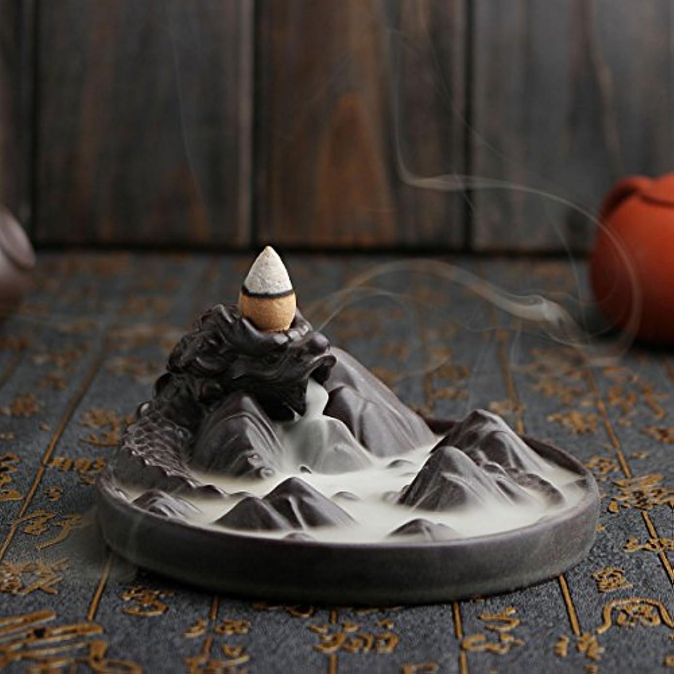 ベリー聴覚モード(Dragon) - Jeteven Ceramic Dragon Backflow Incense Burner + 10 Incense Cones Dragon Incense Burner Holder Handicraft...
