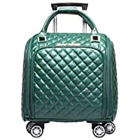 Cooralledtooere 16 inch Simple Casual Rhombic Geometric Portable Trolley Bag, Light Small Suitcase Female Business Suitcase Travel Bag (36 * 21 * 43cm) (Color : Green)