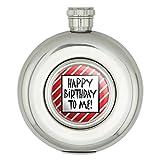 ハッピートゥ・ミー誕生日ストライプ赤面白い円形ステンレス鋼の5オンスのヒップフラスコ