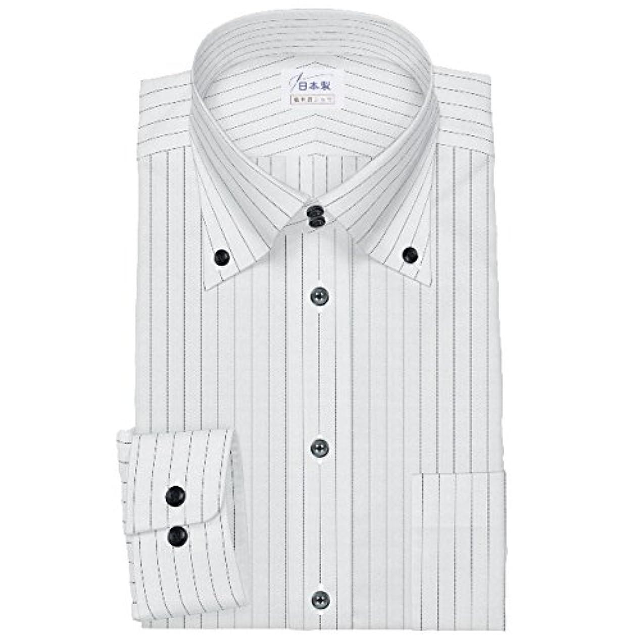宴会性能シガレットワイシャツ 軽井沢シャツ [A10KZB672] ボタンダウン ドゥエボットーニ ブラックペンシルストライプ 形態安定 らくらくオーダー受注生産商品