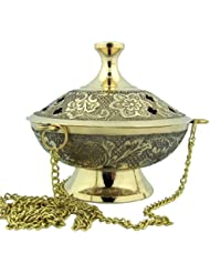 Charcoal Incense Burner Gold Plate over Brass Hanging Censer with Chain